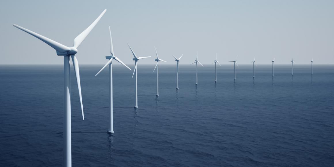Wind turbines on the ocean